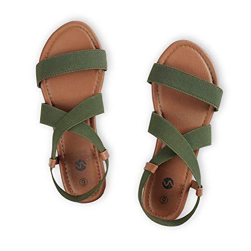 Rekayla Flat Elastic Sandals for Women Khaki Green 08