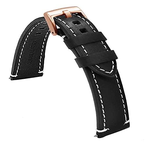 Chtom Correa de reloj de silicona suave y resistente al agua con costuras deportivas, de goma, color negro, costuras de 18 mm, 20 mm, 22 mm, 24 mm (color: costuras blancas)