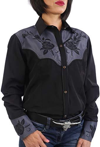 Last Rebels Country Western Line Dance - Camisa para mujer, diseño de flores, color negro Negro Small