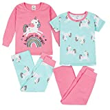 Gerber Baby Girls' 4-Piece Pajama Set, Unicorn Magic Pink, 4T