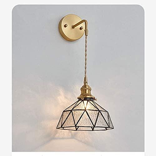 Lámpara de Pared de Bronce de latón Lámpara de Pared de Vidrio Manchado para Sala de Estar Pared de Fondo de TV Lámpara de cabecera de Lujo Simple s Lámpara de Pared de Dormitorio de Arte Creativo