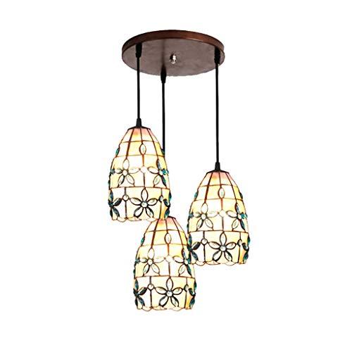Tiffany - Lámpara de techo Tiffany Lilac con 3 cabezales, lámpara de araña, para hotel, restaurante, bar, artesanía, 52 pulgadas (color: 2)