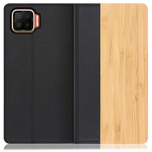 LOOF Nature OPPO A73 ケース 手帳型 カバー 本革 天然木 ベルト無し ウッド 木製 木 カード収納 カードポケット 本革 高級 スタンド機能 手帳型ケース スマホケース (竹)