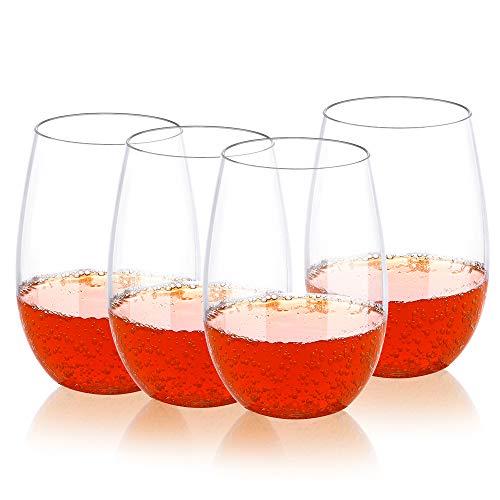 QHYK 4PCS Hochwertig Wein Gläser, Unzerbrechlich Bruchfeste Stemless Wein Plastikweingläser, BPA frei, Wiederverwendbare Plastikbecher für Parteien, Hochzeiten, Garten - Crystal Clear - 16oz