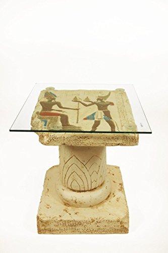 CAPRILO Mesa Decorativa Egipcia Mesa Mural de Egipto Mueles Auxiliares. 45 x 45 x 50 cm.