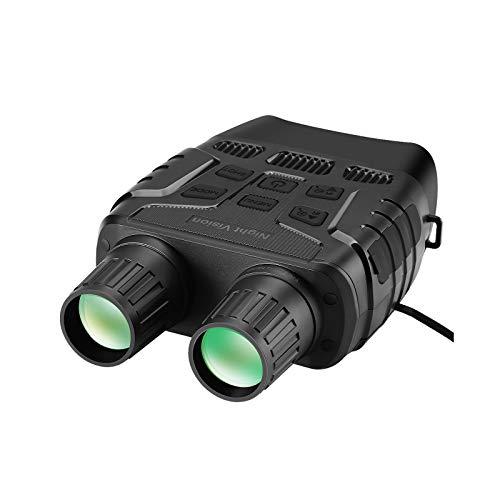 Prismáticos de visión nocturna, telescopio digital IR con zoom óptico con pantalla de 2.3 pies para caza, espía y vigilancia con tarjeta de memoria de 32 GB (color negro)