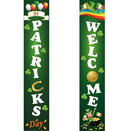 Moent St. Patrick's Day Hanging Banner Porch Sign,Irish Holiday Clover Lucky Door Curtain Banner Home Decoration,Festival Party Front Door Welcoming Sign