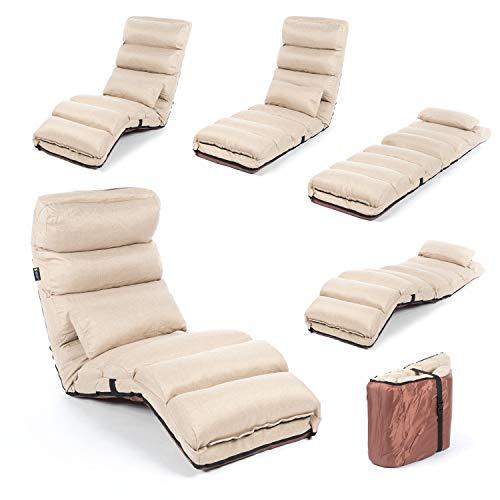 Smoothy Relaxliege klappbare Lounge Liege - 3-in-1 Sessel, Liege, Gästebett flexibel einstellbar; Beige