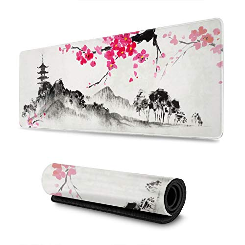 Watercolor Japanese Sumi-E Sakura Hills Cherry Blossom Gaming Mouse Pad XL, Extended Large Mouse Mat Desk Pad, Stitched Edges Mousepad, Long Non-Slip Rubber Base Mice Pad, 31.5 X 11.8 Inch