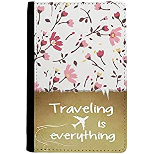 Calliopsis Pink Flower Plant Leaves Traveling quato Passport Holder Travel Wallet Cover Case Card Purse