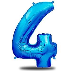 envami Globos de Cumpleãnos 4 Azul I 101 CM Globo 4 Años I Globo Numero 4 I Decoracion 4 Cumpleaños Niños I Globos Numeros Gigantes para Fiestas I Vuelan con Helio