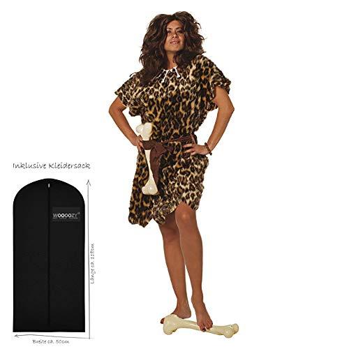 WOOOOZY Damen-Kostüm Höhlenbewohnerin, 2 TLG., Gr. 46 - inklusive praktischem Kleidersack