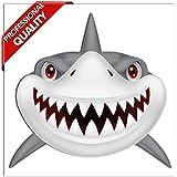 SkinoEu® 2 Stück Vinyl Aufkleber Autoaufkleber Hai Haifisch Zähne Shark Teeth Fischen Meerestier...