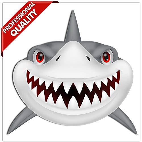 SkinoEu® 2 Stück Vinyl Aufkleber Autoaufkleber Hai Haifisch Zähne Shark Teeth Fischen Meerestier Fischerboot Surfboard Stickers Spiegel Auto Moto Motorrad Fahrrad Helm Fenster Tür Tuning B 71