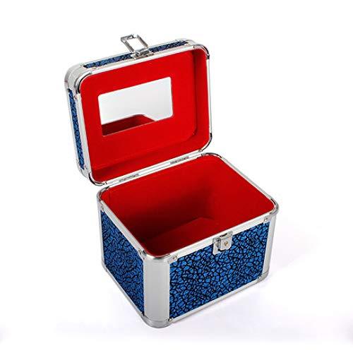 Boîte à Bijoux Sac Cosmétique Multi-Fonction Bleu portatif 15 * 11 * 11cm de Voyage portatif imperméable en Aluminium de boîte de Rangement cosmétique de Voyage