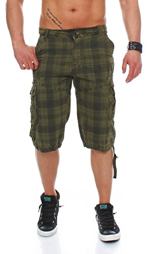 Cleostyle Collection Herren Short Jeans Bermuda Short kurz Karo 6037 (30, Oliv)