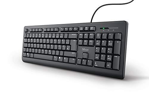 Trust Taro Kabelgebundene Tastatur - Deutsches QWERTZ Layout, Leise Tasten, Spritzwassergeschützt, USB-Anschluss, Ergonomisch, 1.8 m Kabellänge, PC/Laptop, Windows/macOS - Schwarz