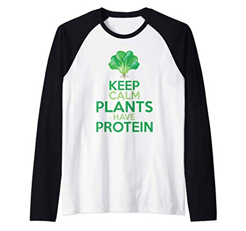 Divertido Brócoli Vegetariano Keep Calm Plants Have Protein Camiseta Manga Raglan