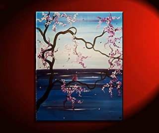 Cherry Blossom Seascape with Love birds Original Painting Blue and Purple Floral Artwork 32x26