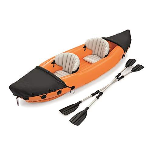 SPORTS 2-Persona Kayak Inflable con la Paleta, Carga 160KGS, 0,57 mM del Material de PVC, 351X76CM Naranja