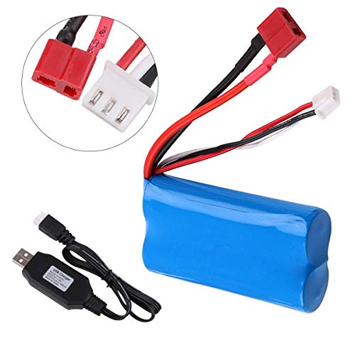 Crazepony-UK 2S Lipo Battery 7.4V 2000mAh Akku 20C T Plug Connector with USB Battery Charger for RC Car Off Road Truck
