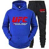 Sudadera con Capucha Impresa MMA Fitness Sportswear Traje, UFC Impreso Azul Primavera/De Verano con Capucha Y Pantalones, 2 Estilos (Color : Blue-2, Size : Small)