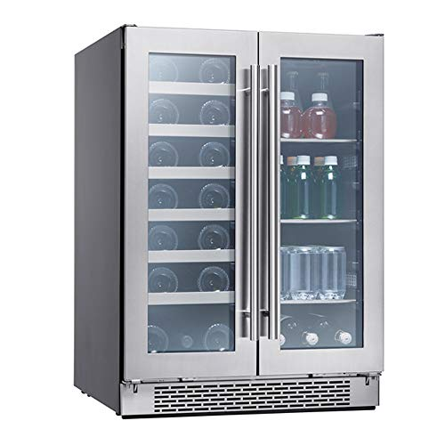 Zephyr Presrv Dual Zone Wine & Beverage Cooler with Glass French Door. 24 Inch...
