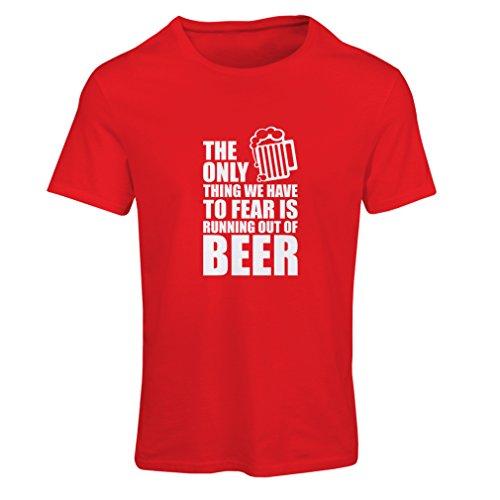 lepni.me Camiseta Mujer Tener Miedo de no Tener una Cerveza - para la Fiesta, Bebiendo Camisetas (Small Rojo Blanco)