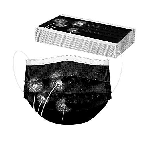 20 Stück Blume Einmal-Mundschutz, Einweg Erwachsene Mundschutz Löwenzahn Motiv Bunt Gedruckt Halstuch Mund und Nasenschutz, Atmungsaktiv Bandanas Maske Halstuch Herren Damen