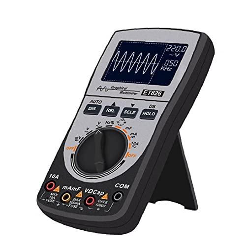 Multímetro del osciloscopio 2 en 1 Prueba de corriente DC CA Voltaje LED Pantalla LED ET826 Pantalla de color Herramienta de diagnóstico negro
