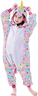 3-12 Y Unicorn Children Unisex Cute Onesies Animal Cartoon Siamese Pajamas Home Wear Cosplay Pajamas Flannel Sleepwear Hom...