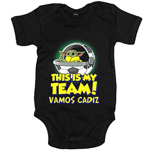 Body bebé parodia baby Yoda mi equipo de fútbol Cádiz - Negro, 6-12 meses