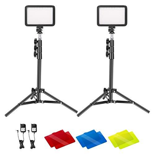 Neewer 2er-Pack Videokonferenzlicht-Kit, 22W 3200K~5600K Dimmbares LED Videolicht mit Fernbedienung, 50-Zoll-Lichtstativ & Farbfilter für Zoomanrufe, Fernarbeit, Vlog, Live-Streaming, Spiele