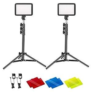 Neewer 2 Paquetes Kit de Iluminación para Conferencias con Control para Reuniones Llamadas con Zoom/Transmisión Automática Luz de Video LED Regulable 3200K-5600K con Soporte Trípode/Filtros de Color
