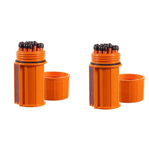 UCO Stormproof Match Kit with Waterproof Case, 25 Stormproof Matches and 3 Strikers (Orange (2-Pack))