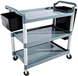 LCK Trolley, Thick Kitchen Trolley, Pp Plastic Cart, Multi Purpose Rolling Utility Storage Storage, para el hogar, la cocina y la oficina (Color: negro),gris