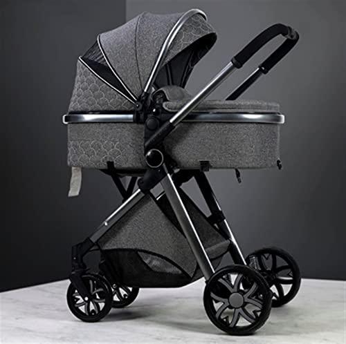 HZPXSB 3 en 1 Cochecito de bebé de Cuero de Lujo Real Marco de Aluminio de Alto Paisaje Plegable kinderwagen Cochecito con Regalos Carro de bebé (Color : Dark Grey)