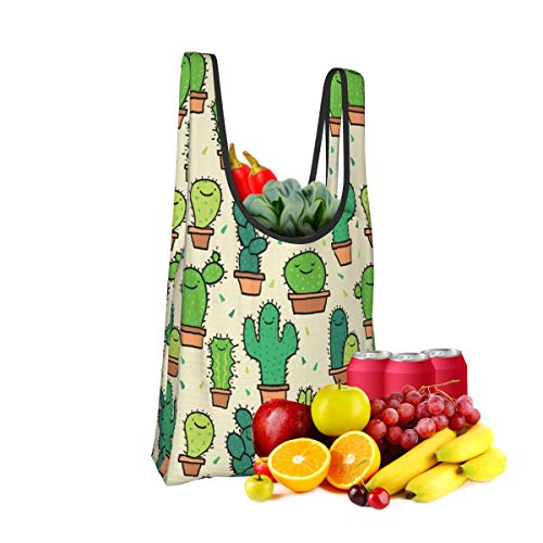 Mark Stars Cactus Cacti Fold Eco-Friendly Shopping Bags Large Capacity Daily Necessity