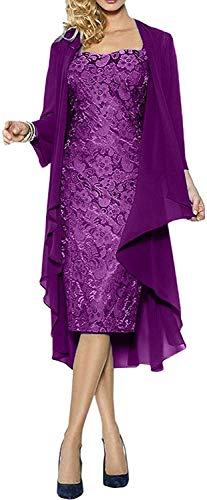 Damas Vestidos De Baile Hasta La Rodilla Madre Del Cordón Del Vestido De Novia Con Vestidos De Partido De La Chaqueta De Las Muchachas Ropa De Época De La Moda ( Color : Lila , One Size : Size48 )