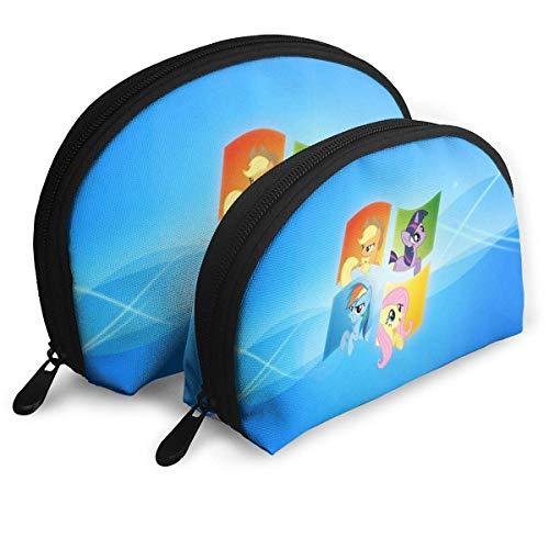 XCNGG Cartoon My Rainbow Pony Schminktasche Shell Shape Tragbare Clutch Pouch Münztasche Multifunktionshandtasche Organizer für Frauen Reisen Wasserdichte Reißverschluss Aufbewahrungstaschen 2St