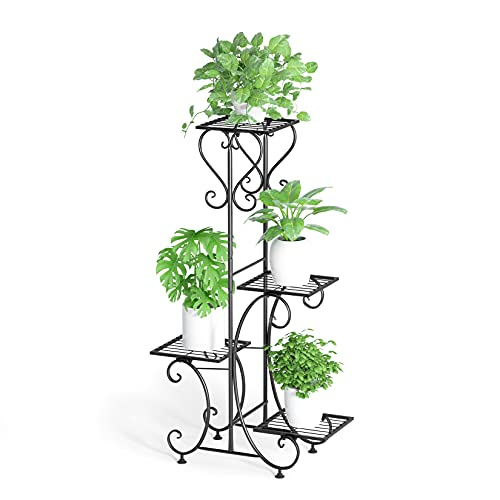 MALAYAS, espositore per fiori in legno, scaffalatura per interni ed esterni, per 6vasi, 96cm x 95cm x 25cm 7mhj01-black