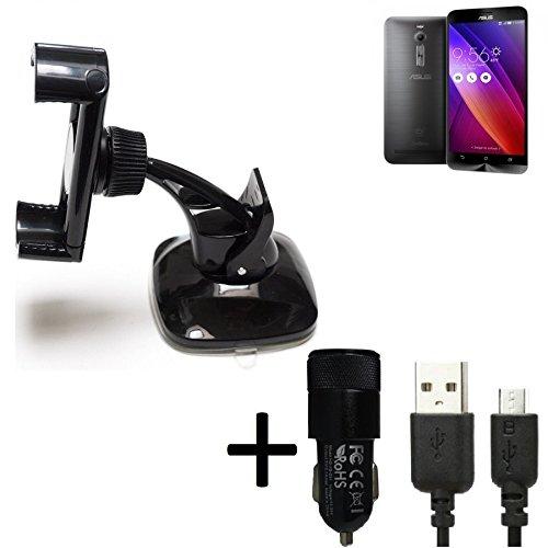 K-S-Trade Halterung Kompatibel Mit Asus ZenFone 2 4GB RAM Windschutzscheibe/Armaturenbrett + LADEGERÄT Mit Mico USB Kabel Autohalterung KFZ Halter Scheiben-Halterung Armaturenbrett-Halter Schwarz