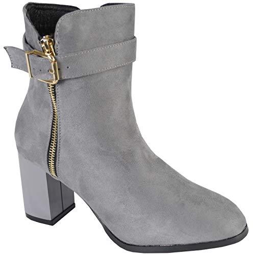 BeMeesh Zapatos Mujer Tipo Botines con Cremallera Lateral con Tacón (Ropa)