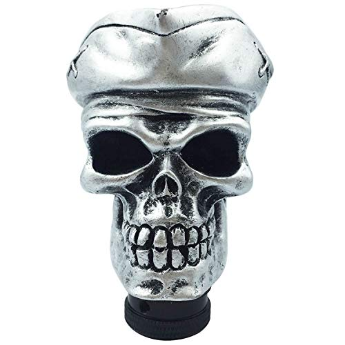 Abfer Skull Shifter Knob Car Gear Stick Shifter Accessories Shifting Head Fit Most Vehicles (Silver)