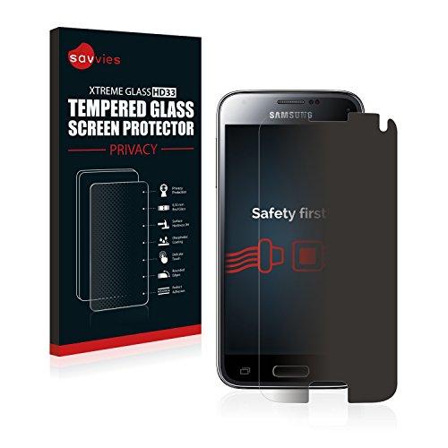 Savvies Blickschutz Panzerglas kompatibel mit Samsung Galaxy S5 Mini Duos Privacy Echtglas Blickschutzfolie Panzerglasfolie Glasfolie Schutzfolie