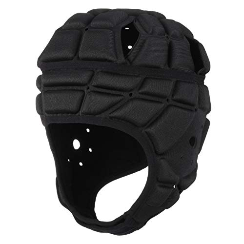 Surlim Rugby Soft Helmet Soccer Headgear Scrum Cap 7v7 Flag Football Headguard for Adult Large (Black)
