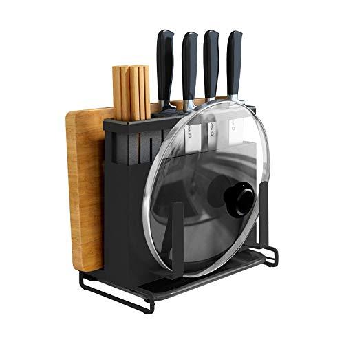 Bloque de cuchillos de metal, soporte de pared, soporte para utensilios y tabla de cortar, organizador de cocina, fácil de instalar, color negro