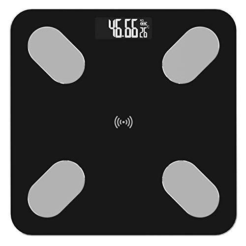 KANJJ-YU Báscula de pesaje de grasa corporal, Báscula de suelo científica electrónica inteligente LED digital peso balanza de baño, equilibrio aplicación Bluetooth, 180 kg, casa negra