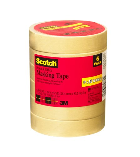Scotch Home and Office Masking Tape, 1-Inch by 55-Yards, 6 Rolls