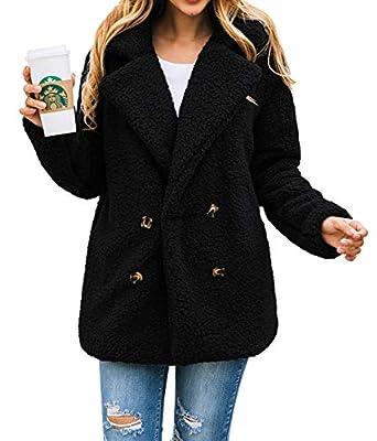 PRETTYGARDEN Women's Warm Long Sleeve Lapel Open Front Button Draped Fleece Coat Fluffy Outwear with Pockets from